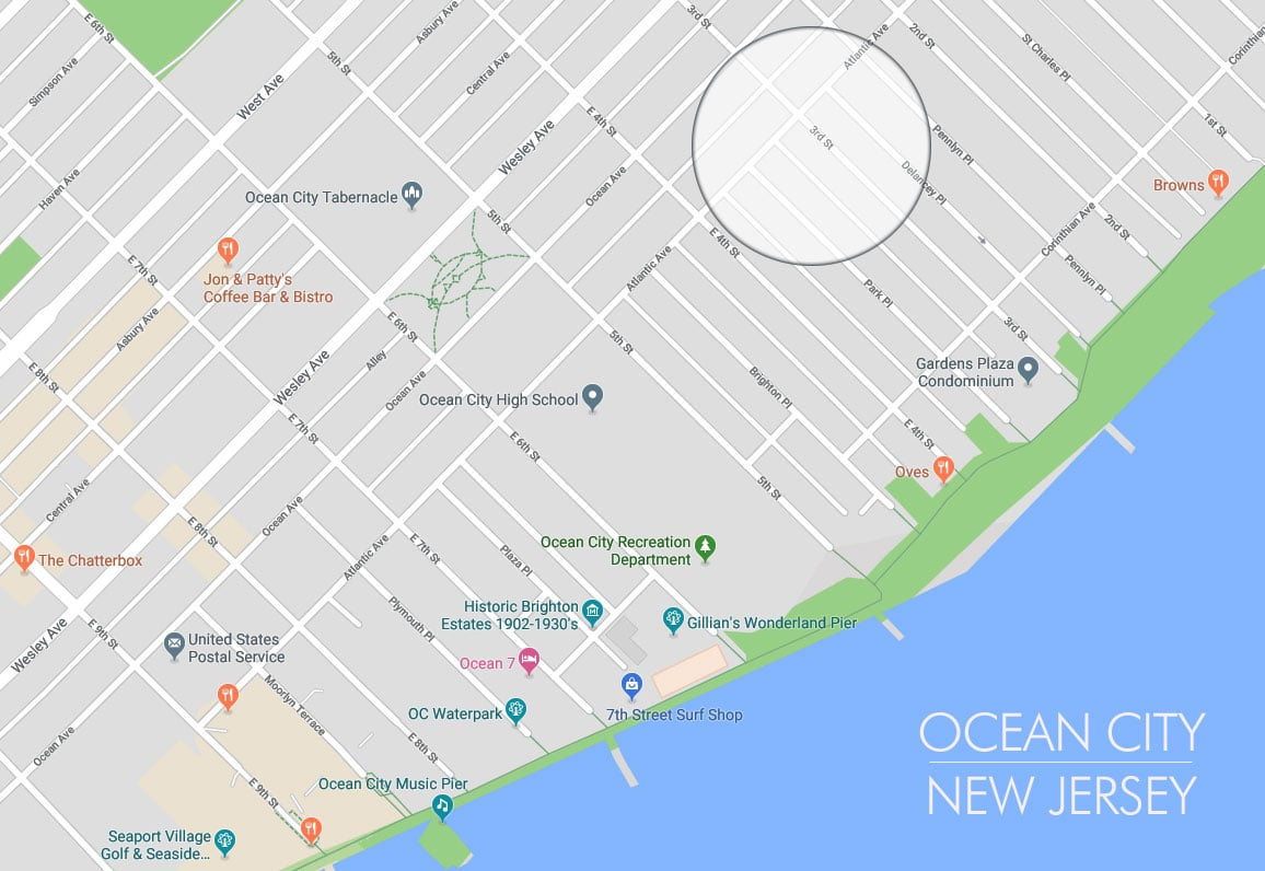 Ocean City, New Jersey - Vacation Rental Map